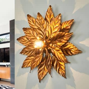 Antik væglampe med gyldne blade, 40 cm