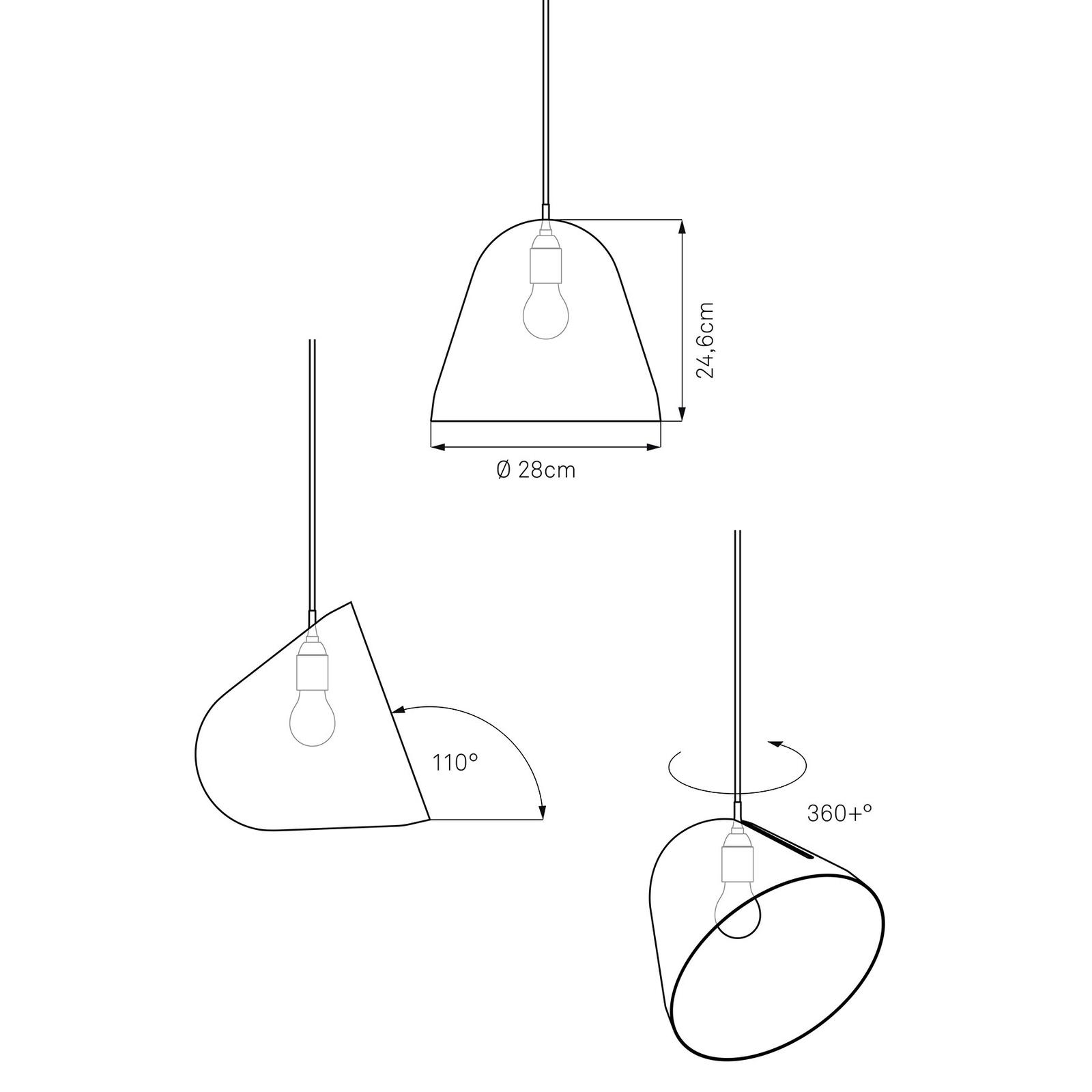 Nyta Tilt hanglamp, kabel 3m rood, zwart