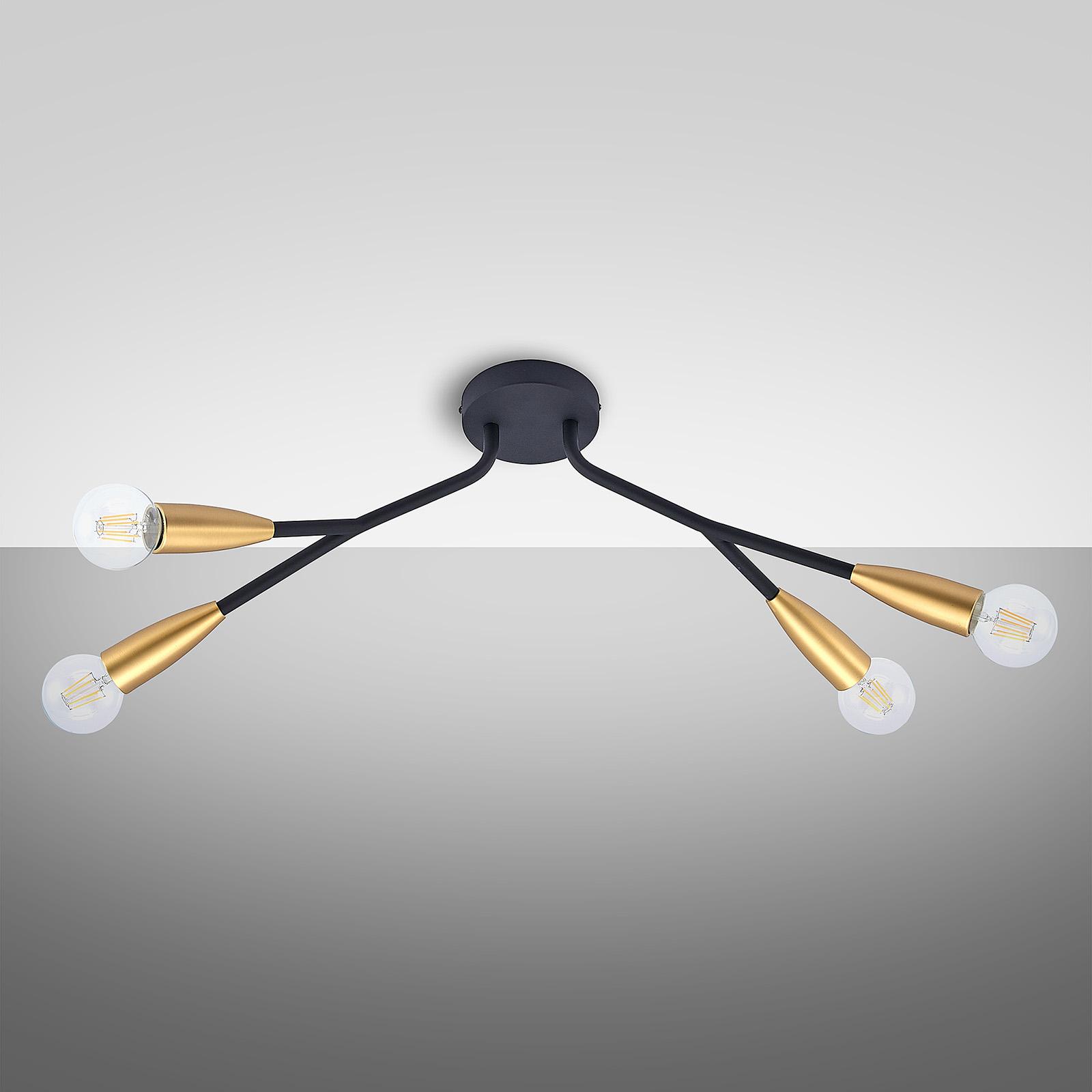 Lucande Carlea taklampa, 4 lampor svart mässing