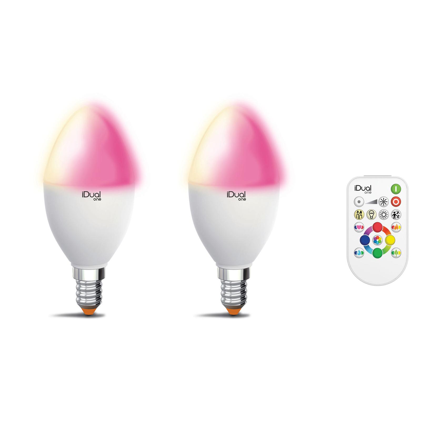 iDual One E14 P45 5,3W 2er Pack RGBW fjernkontroll