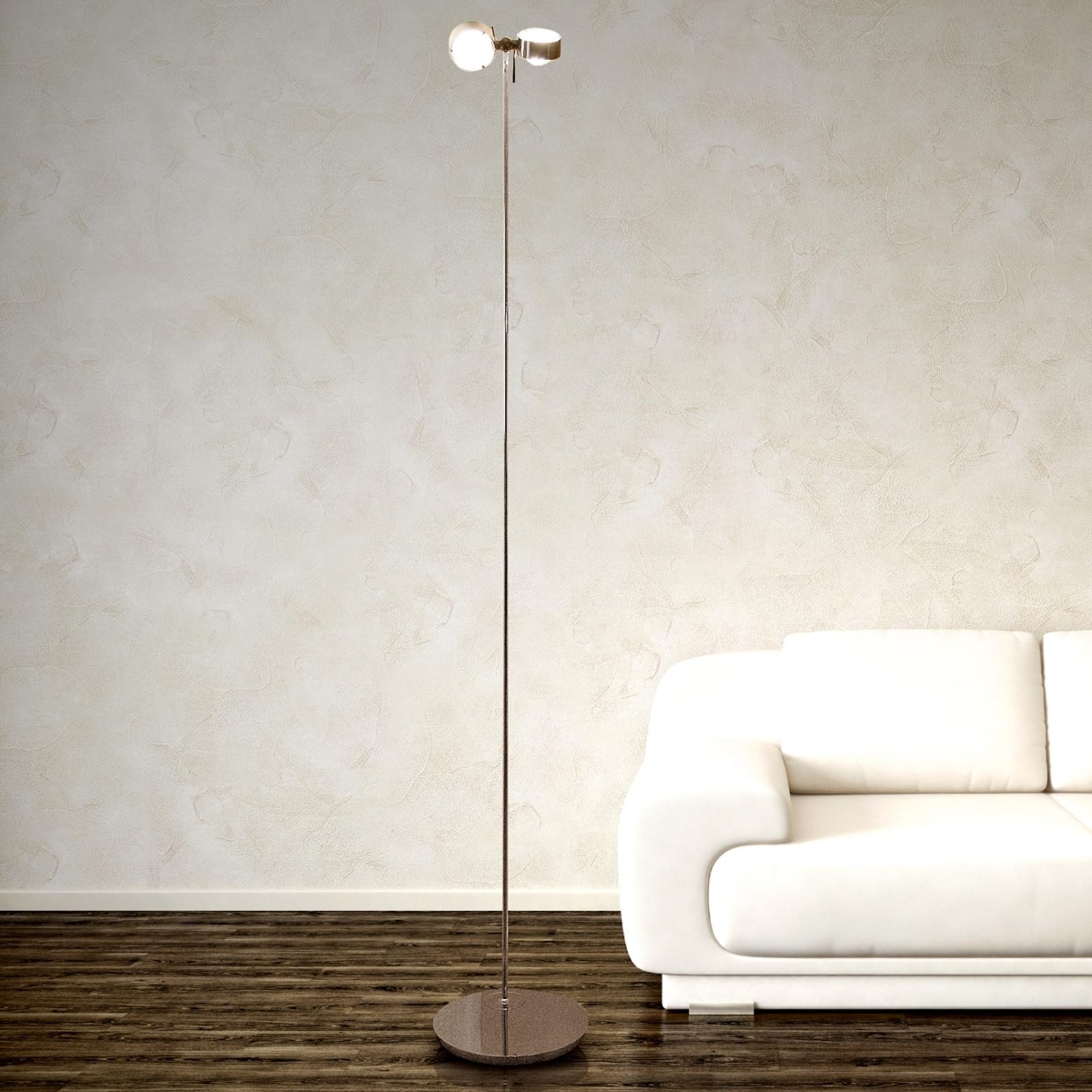 Ruchoma lampa stojąca PUK FLOOR, chrom mat, 2-pkt.
