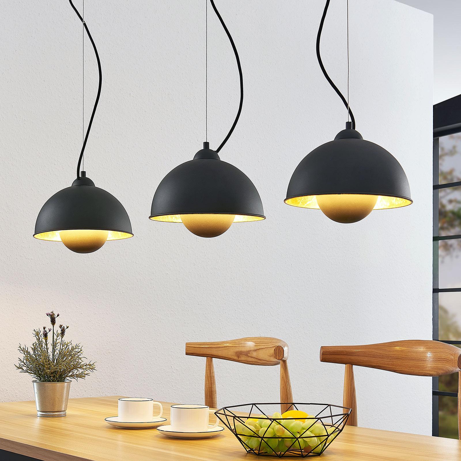 Hanglamp Gretja met drie lampjes, zwart-goud