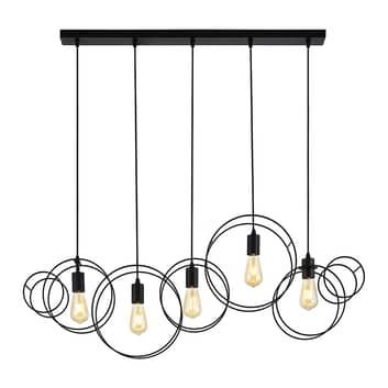 Lucande Andrik hængelampe, 5 lyskilder, cirkler