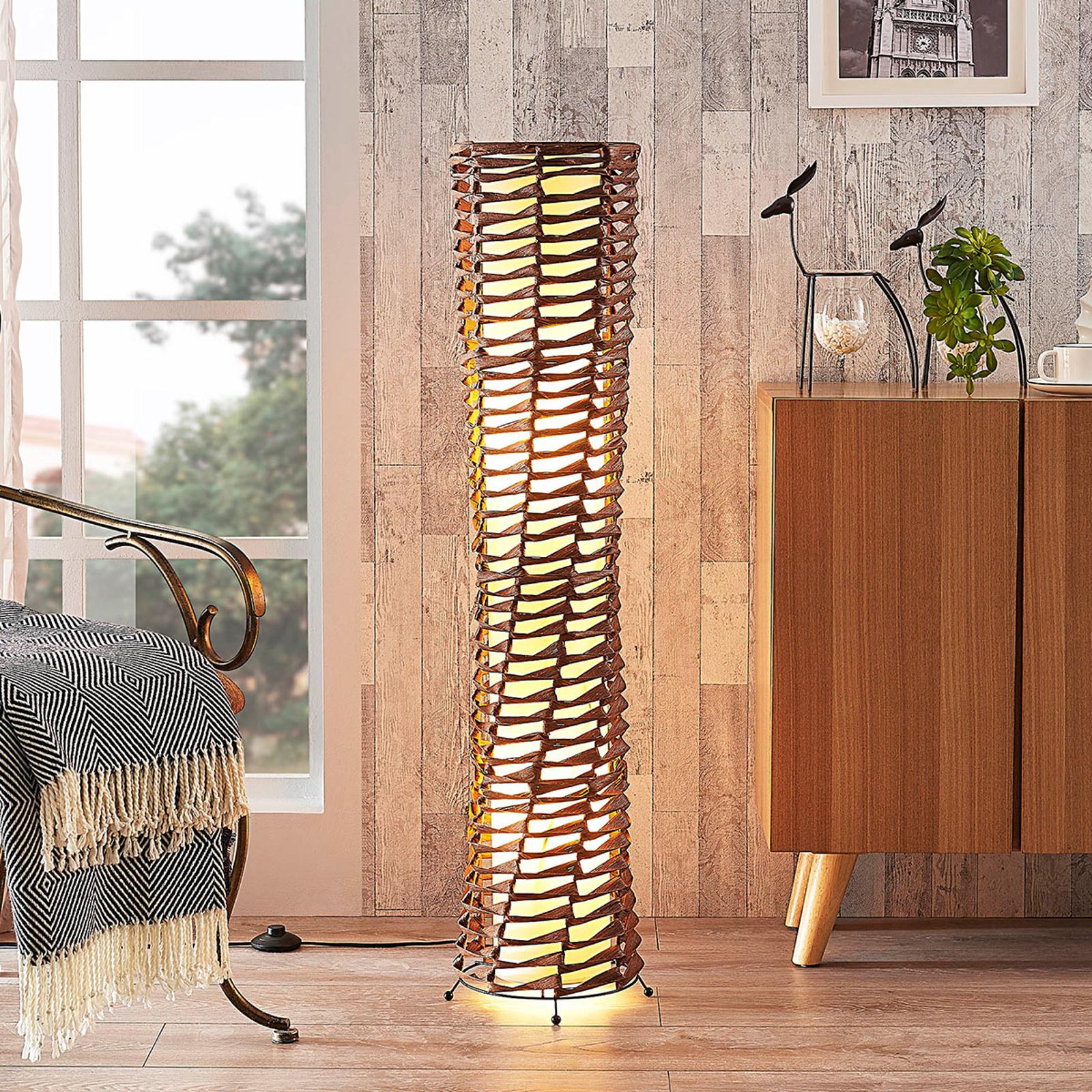 Decoratieve woonkamer-vloerlamp Joas in bruin