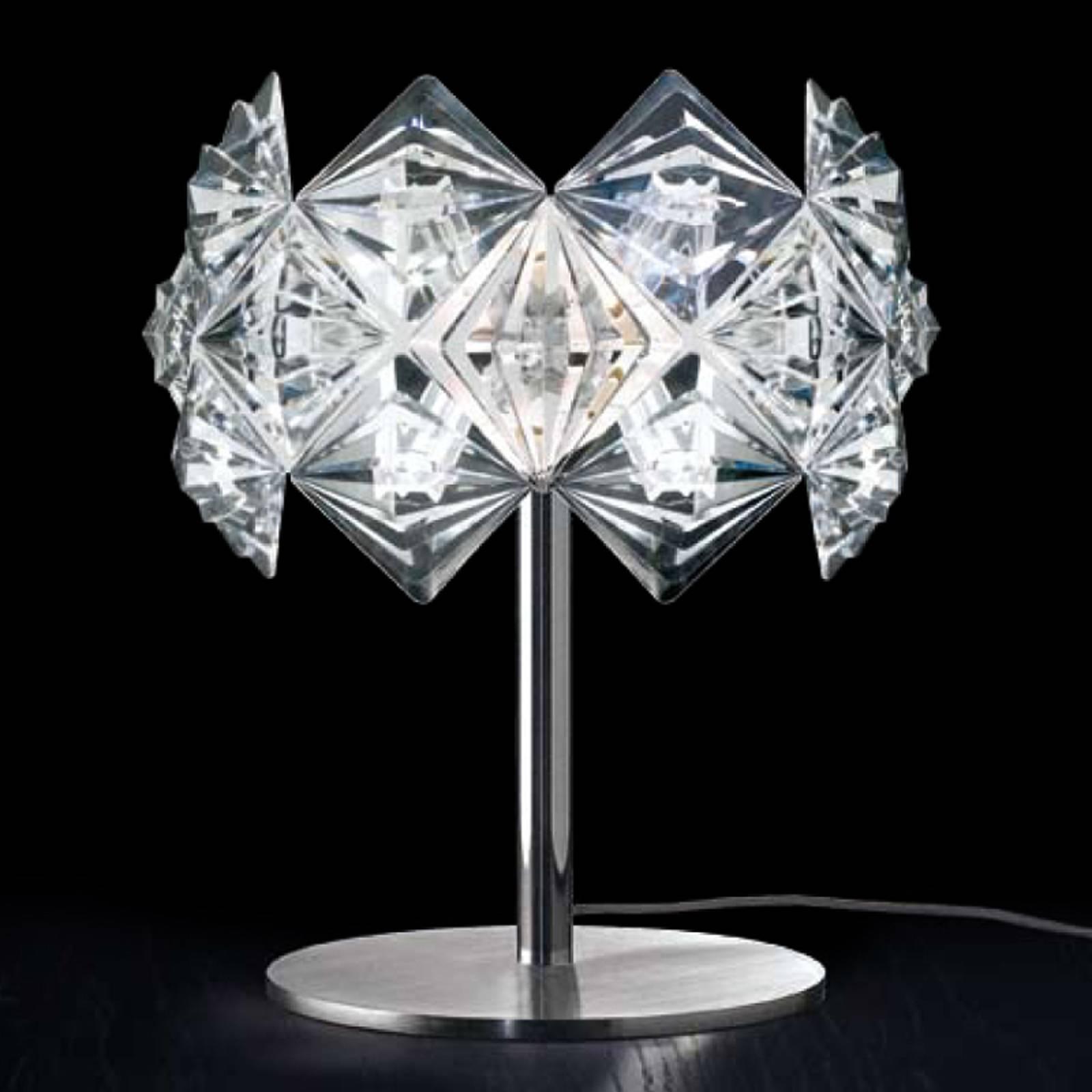 Tischleuchte Prisma mit funkelndem Schirm