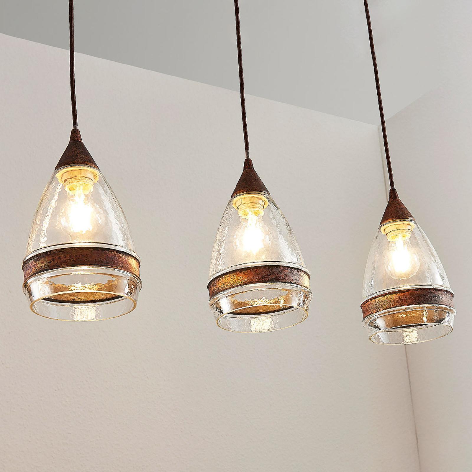Szklana lampa wisząca Millina, 3-punktowa