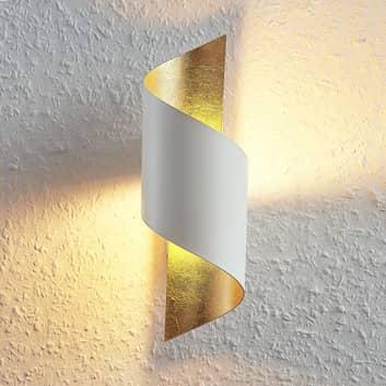 Metall-LED-vegglampe Desirio, hvit-gull