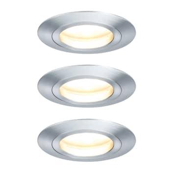Paulmann 3er LED-Spot Coin, 7 W, dimmbar, Alu