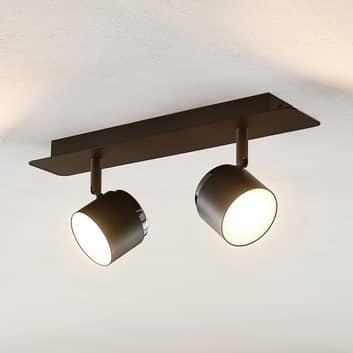 Lindby Marrie LED-spot, svart, 2 lampor, board