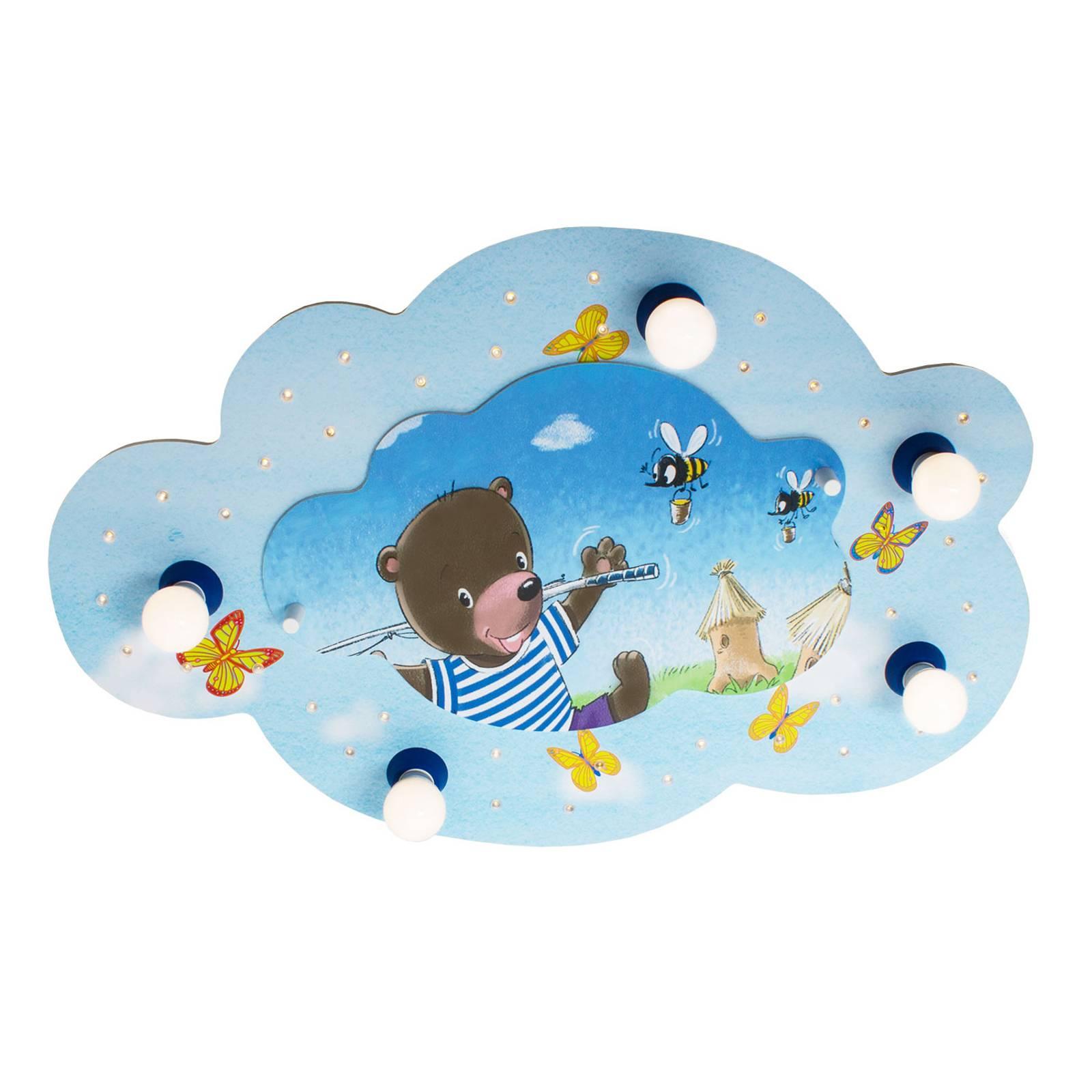 Lampa sufitowa Miś z wędką chmura, niebieska