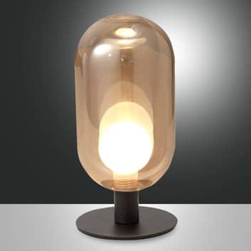 Lampe à poser LED Gubbio, abat-jour en verre ovale