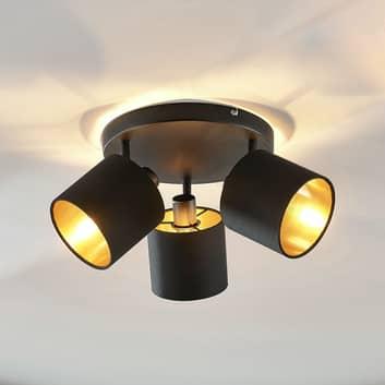 Stoffen plafondlamp Vasilia zwart-goud, 3-lamps