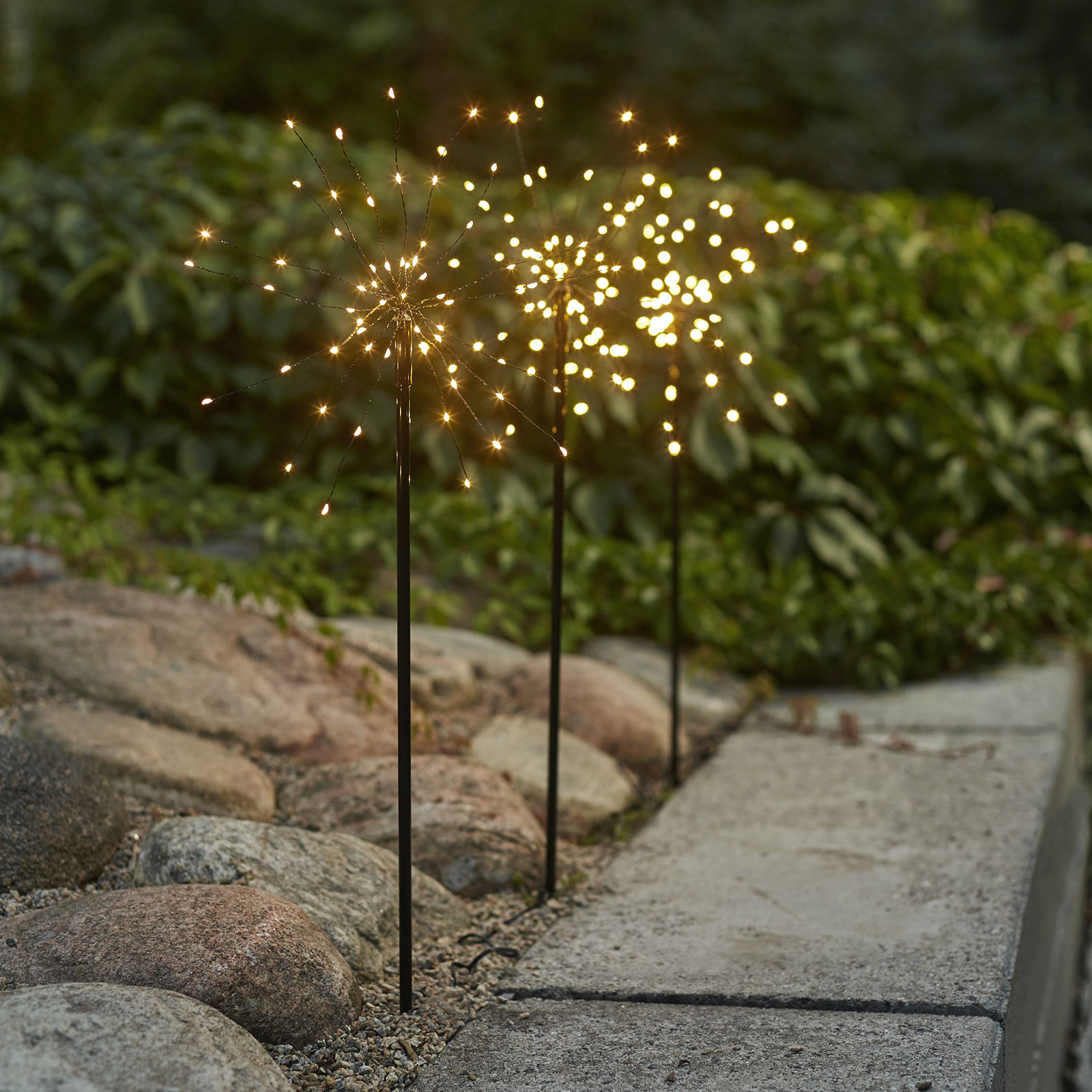 Lampe déco LED Firework Outdoor, lot 3 blanc chaud