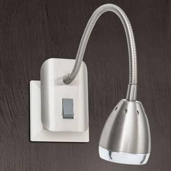LED stopcontactlamp Manvel met schakelaar, nikkel