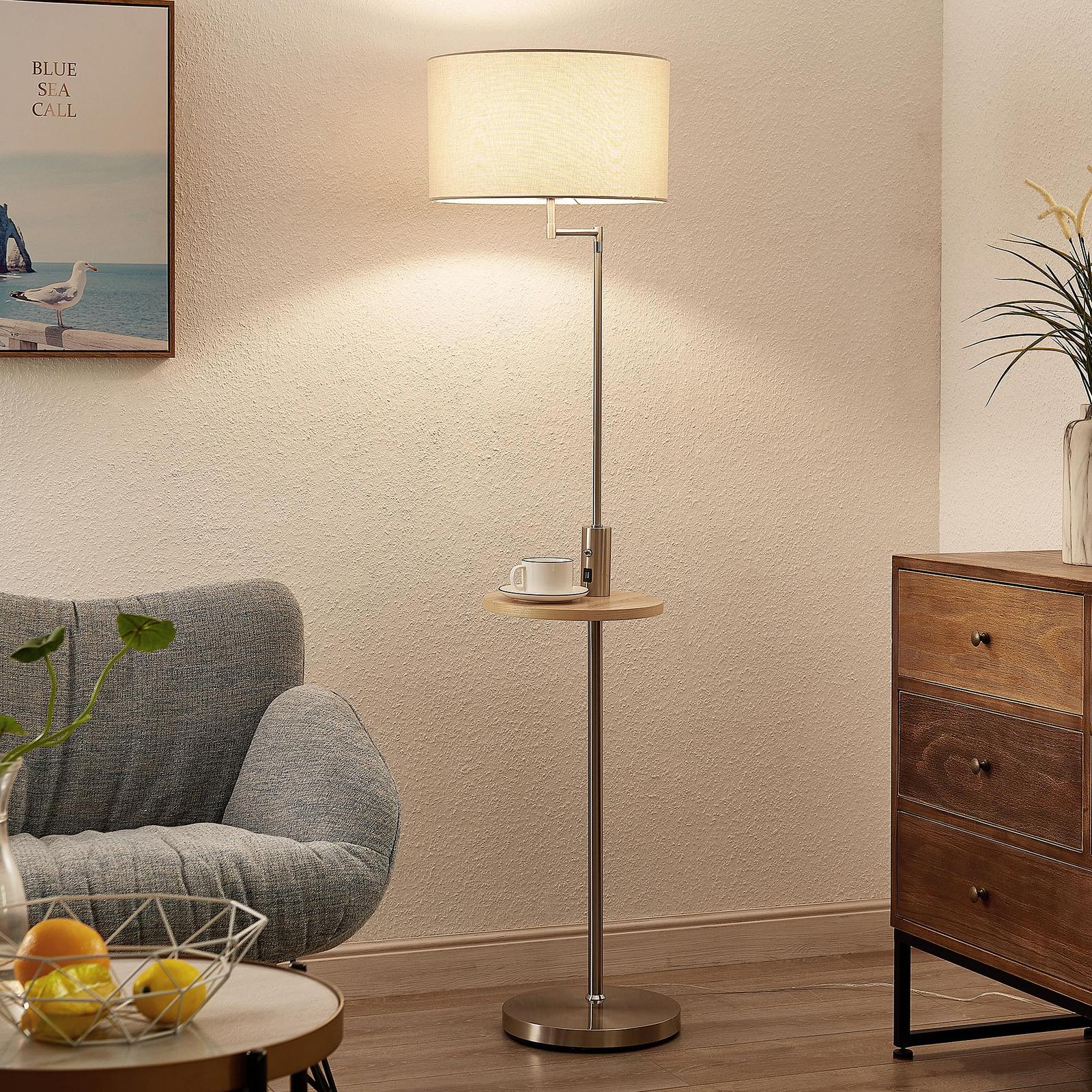 Lindby Zinia gulvlampe med hylle og USB, nikkel