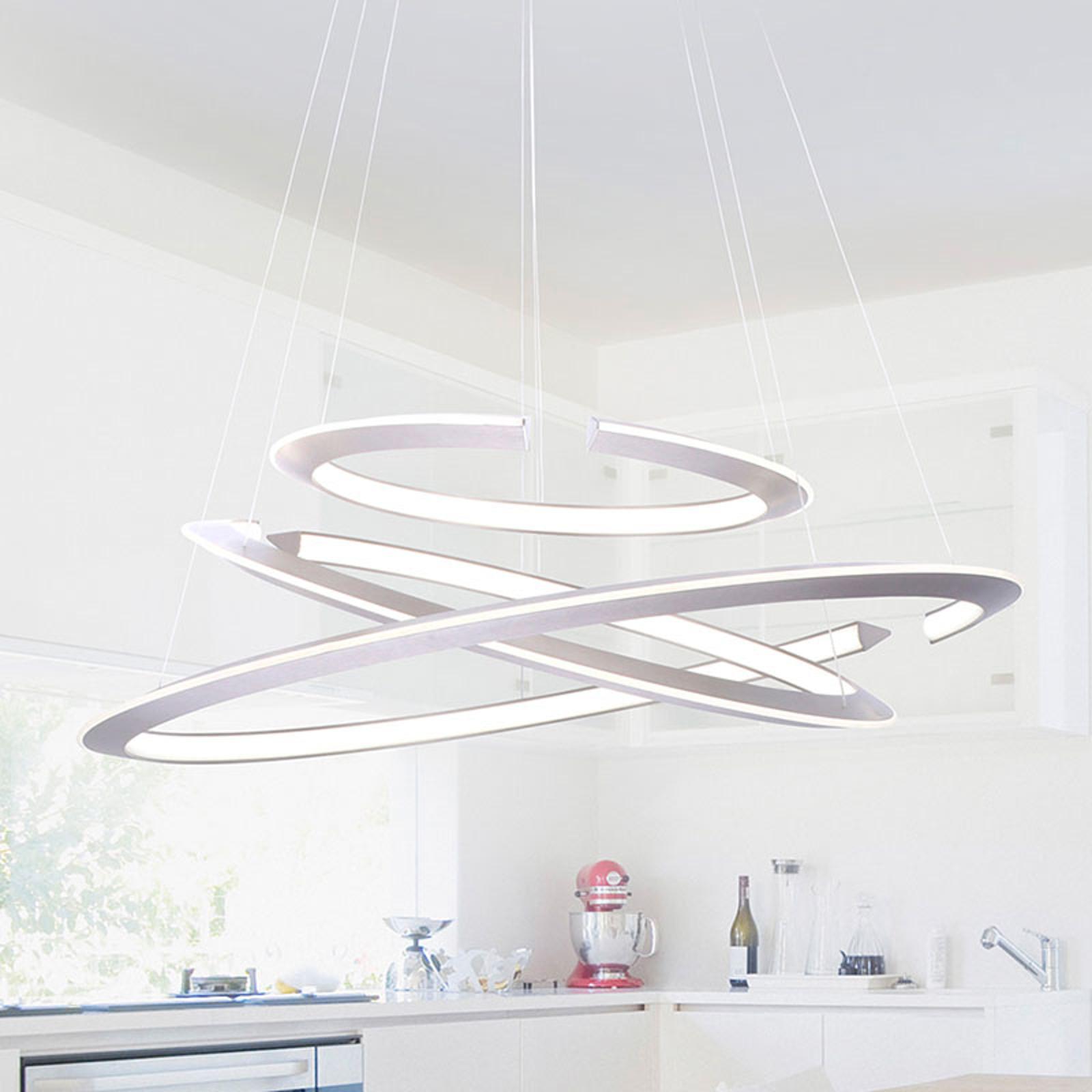 Suspension LED Alessa à trois anneaux LED