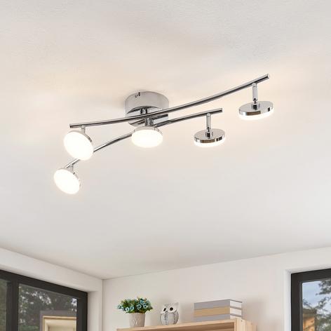 Lindby Rouven lámpara LED de techo, metal, 5 luces