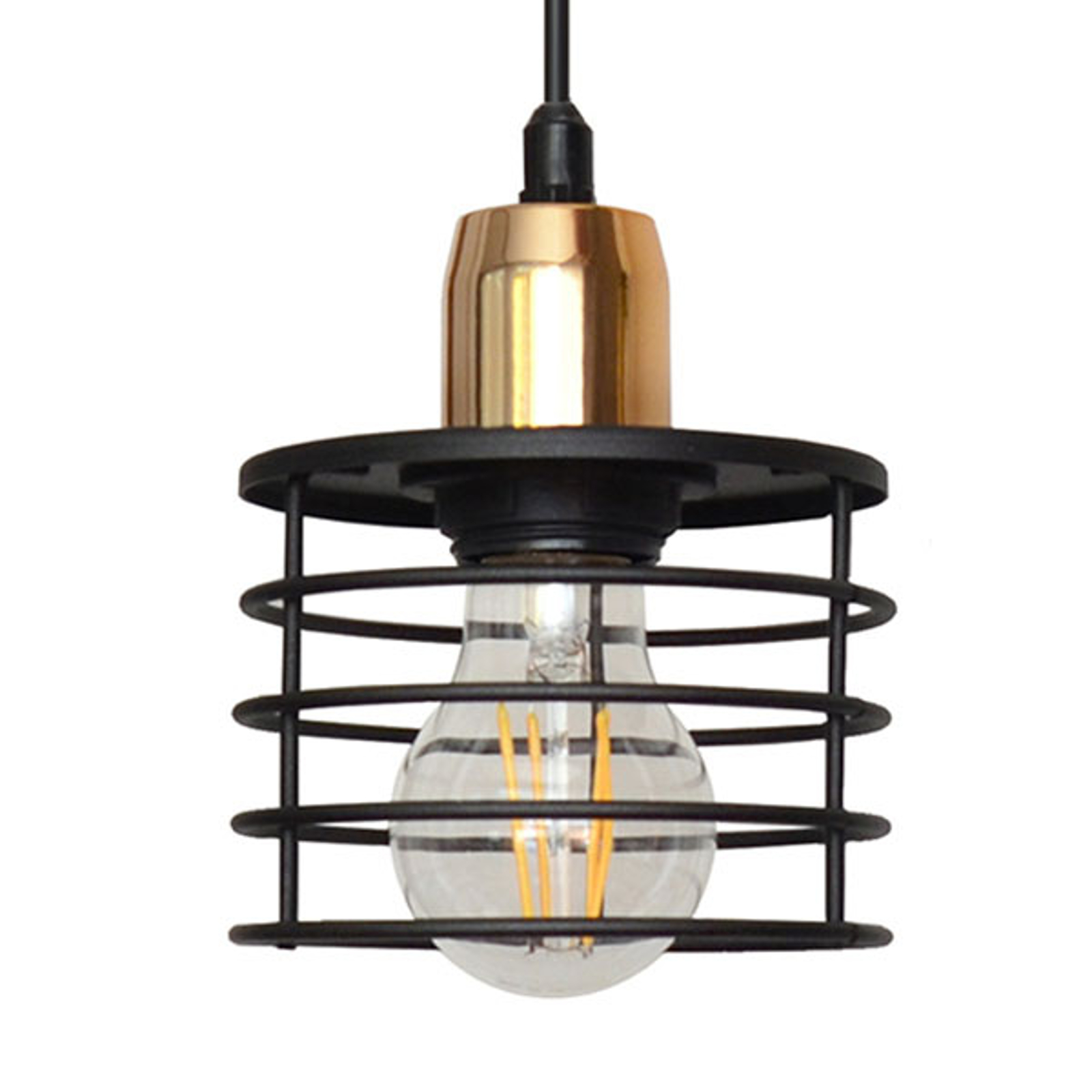 Lampa wisząca Edison czarna/miedziana 1-punktowa