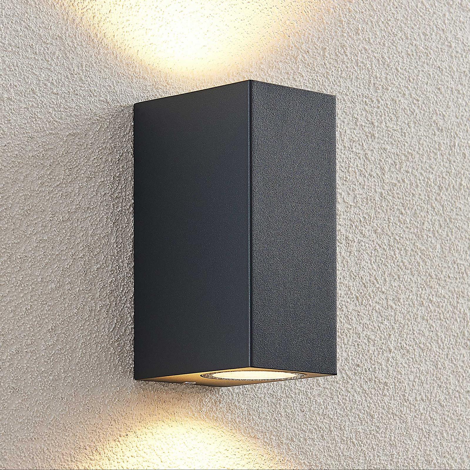 ELC Fijona utendørs LED-vegglampe, kantet, 15 cm