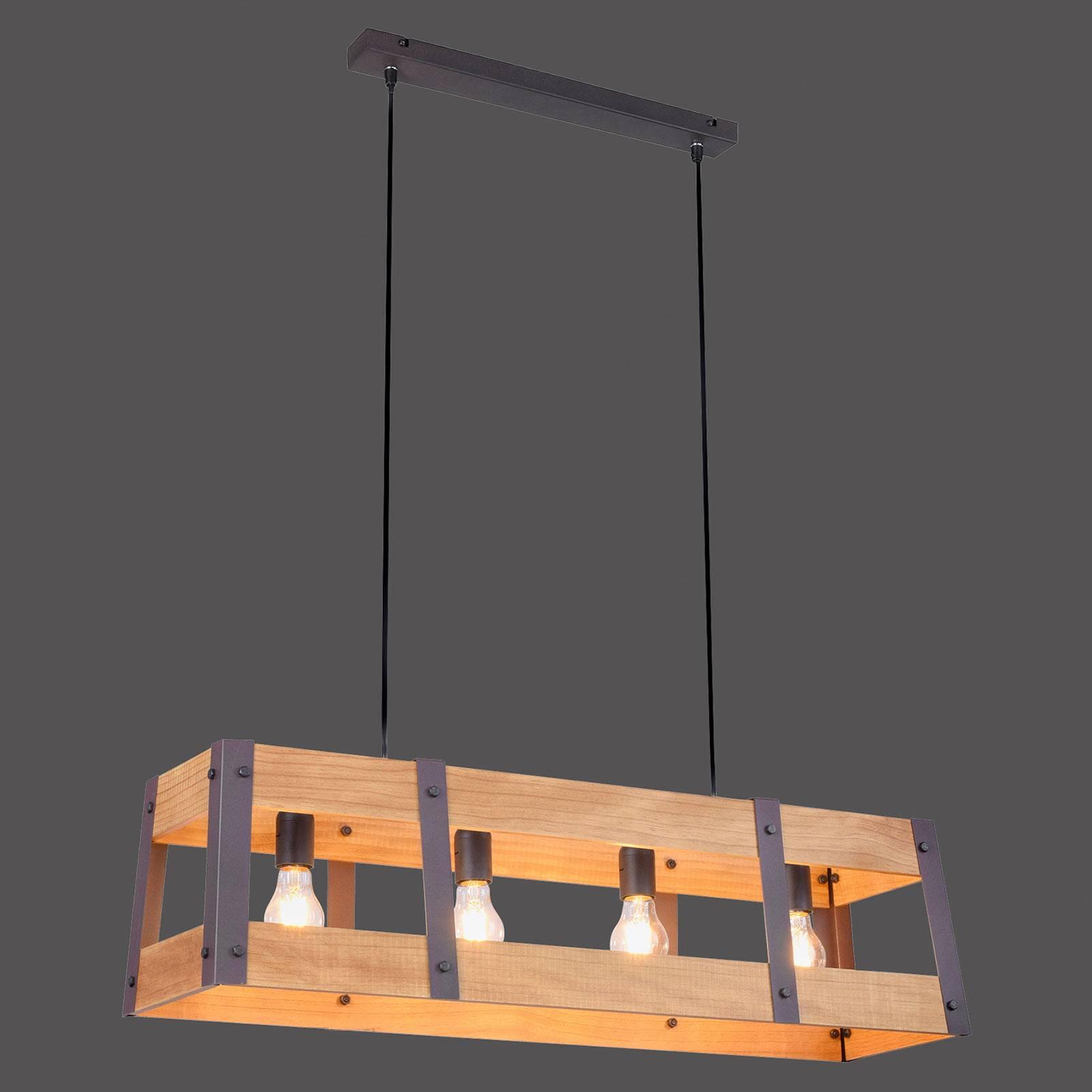 Lampa wisząca Crate z drewna, 4-punktowa