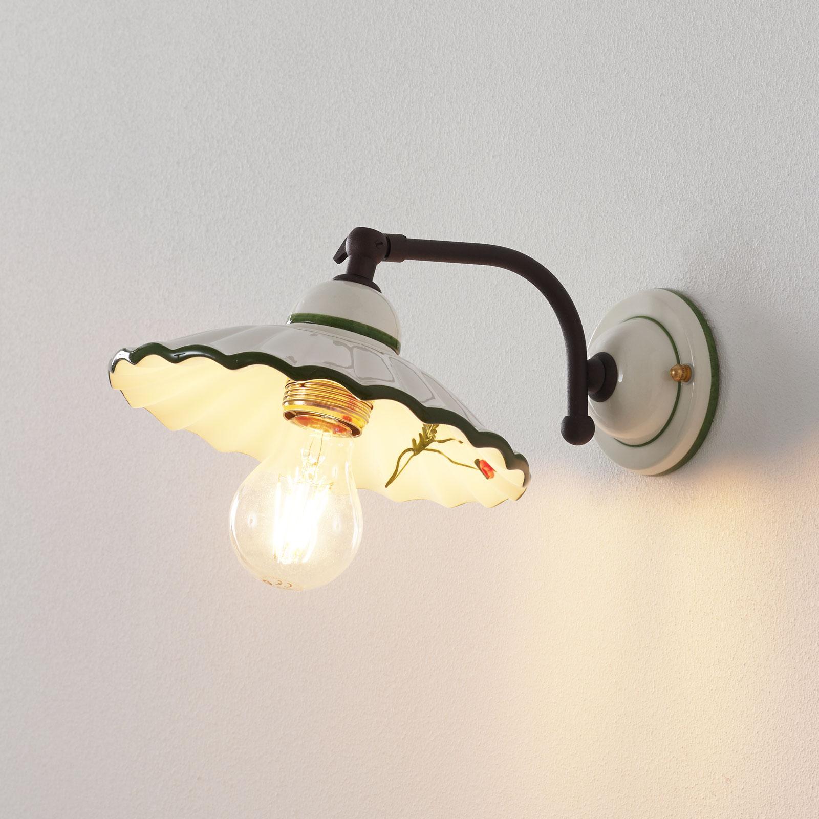 Piękna ceramiczna lampa ścienna PAPAVERI