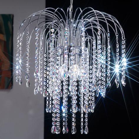 Lámpara colgante Pioggia gotas cristal Ø35cm cromo