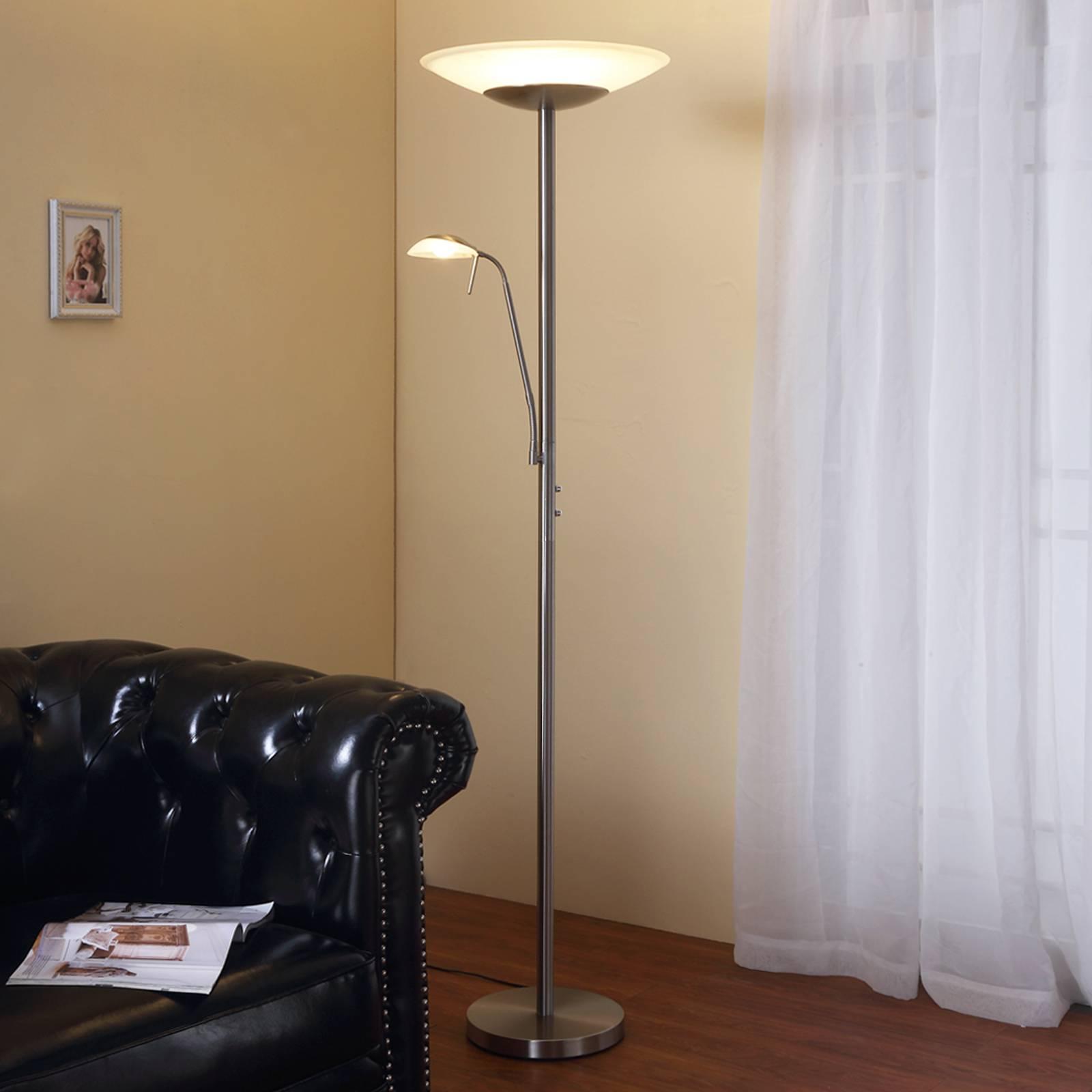 LED uplighter Ragna met leeslamp, nikkel mat