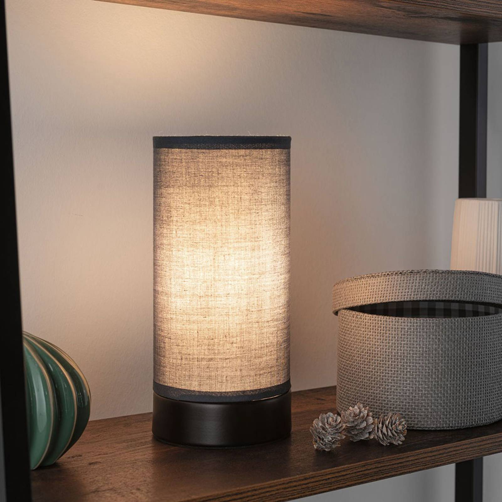 Paulmann Pia tafellamp van stof, zwart/grijs