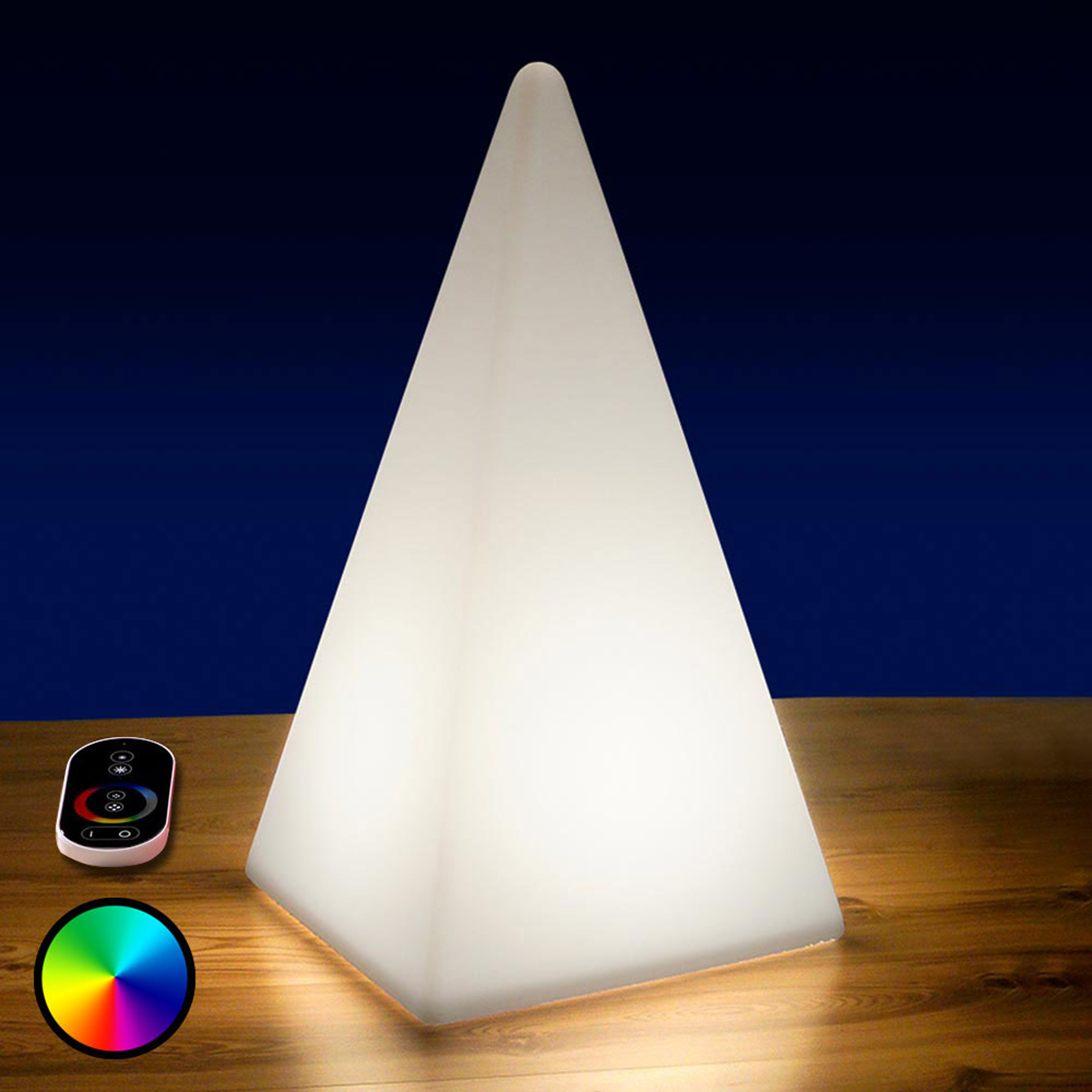 Akkubetriebene RGB-LED-Pyramide, 54 cm
