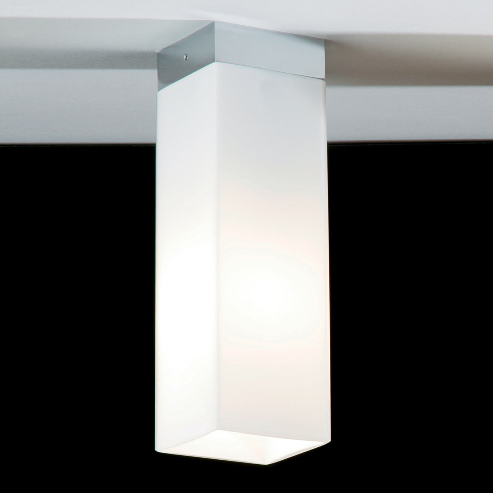 Lampa sufitowa QUADRO BOX ze szkła, nikiel mat