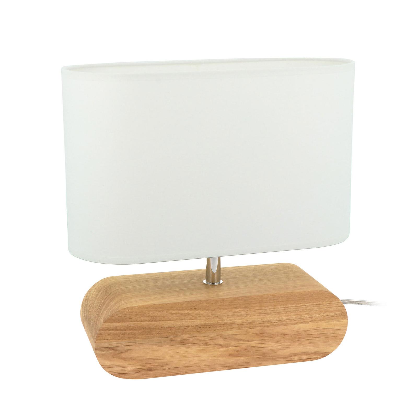 Lampe à poser Cassy chêne abat-jour en tissu blanc