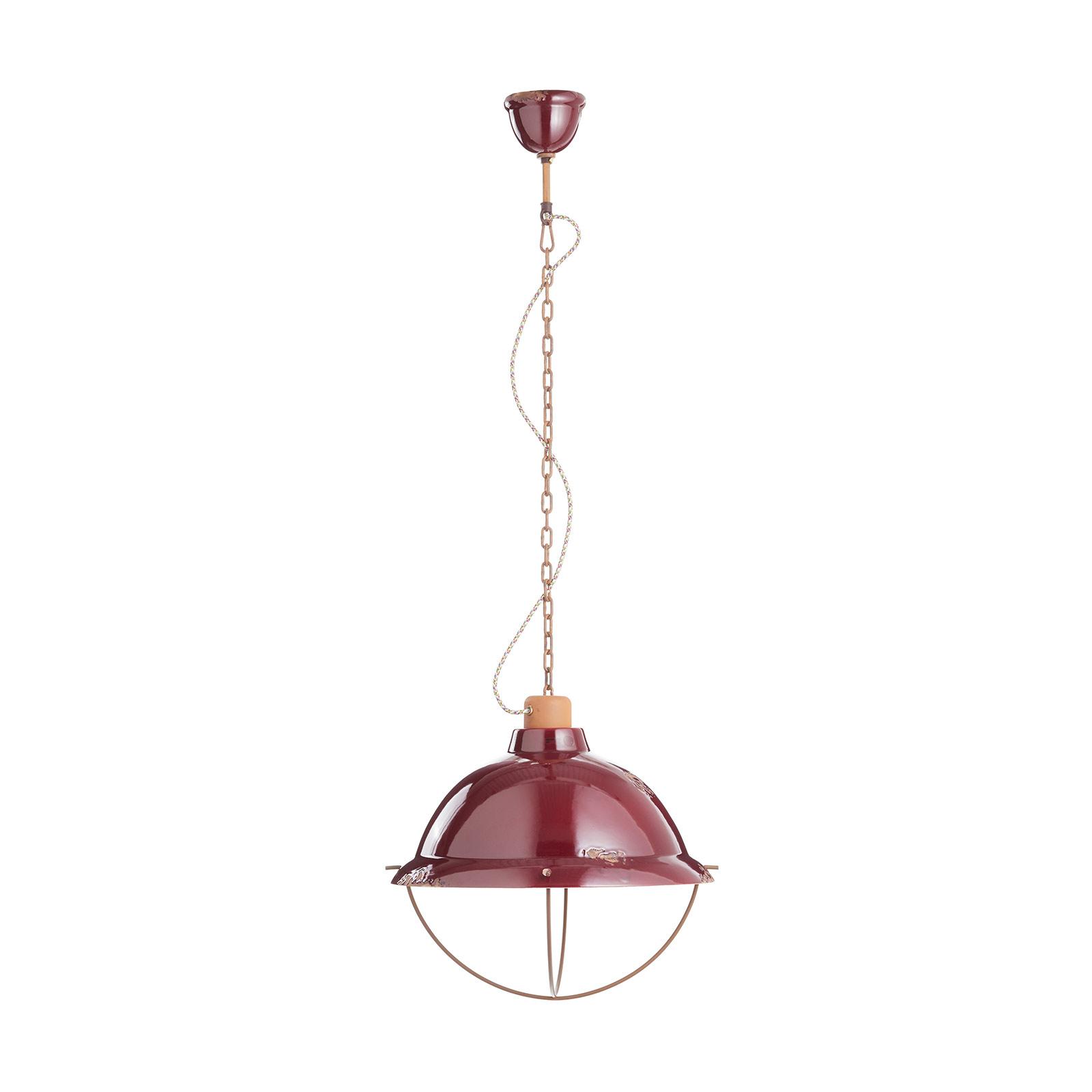 Hanglamp C1680 van keramiek, bordeaux