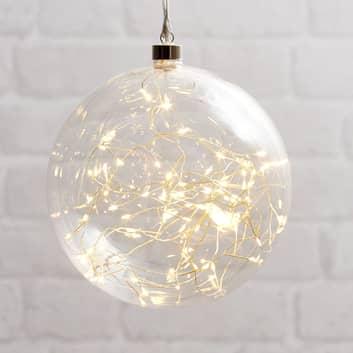 Glow LED-dekokugle af glas, Ø 20 cm