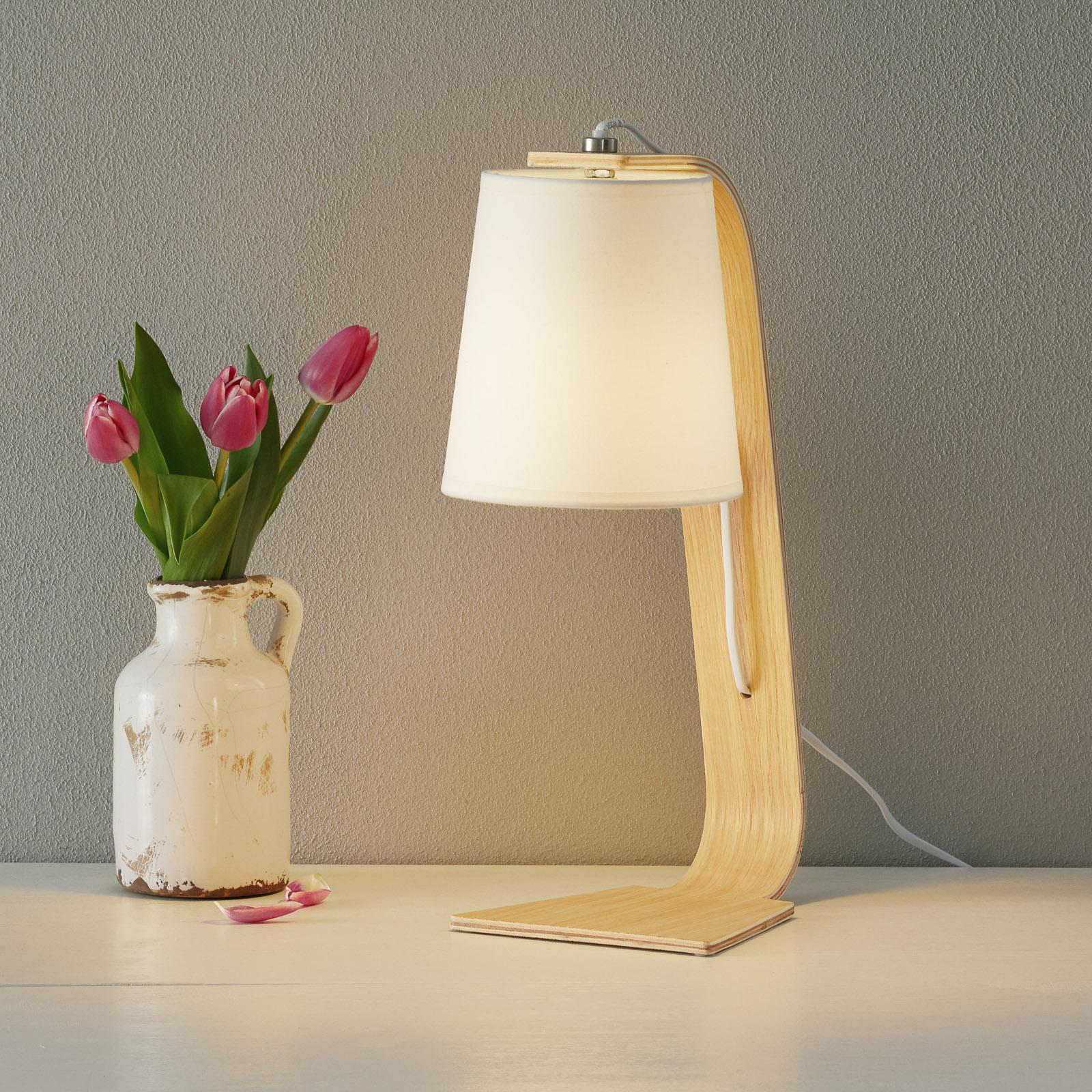 Lampada da tavolo in legno Nordic, tessuto bianco
