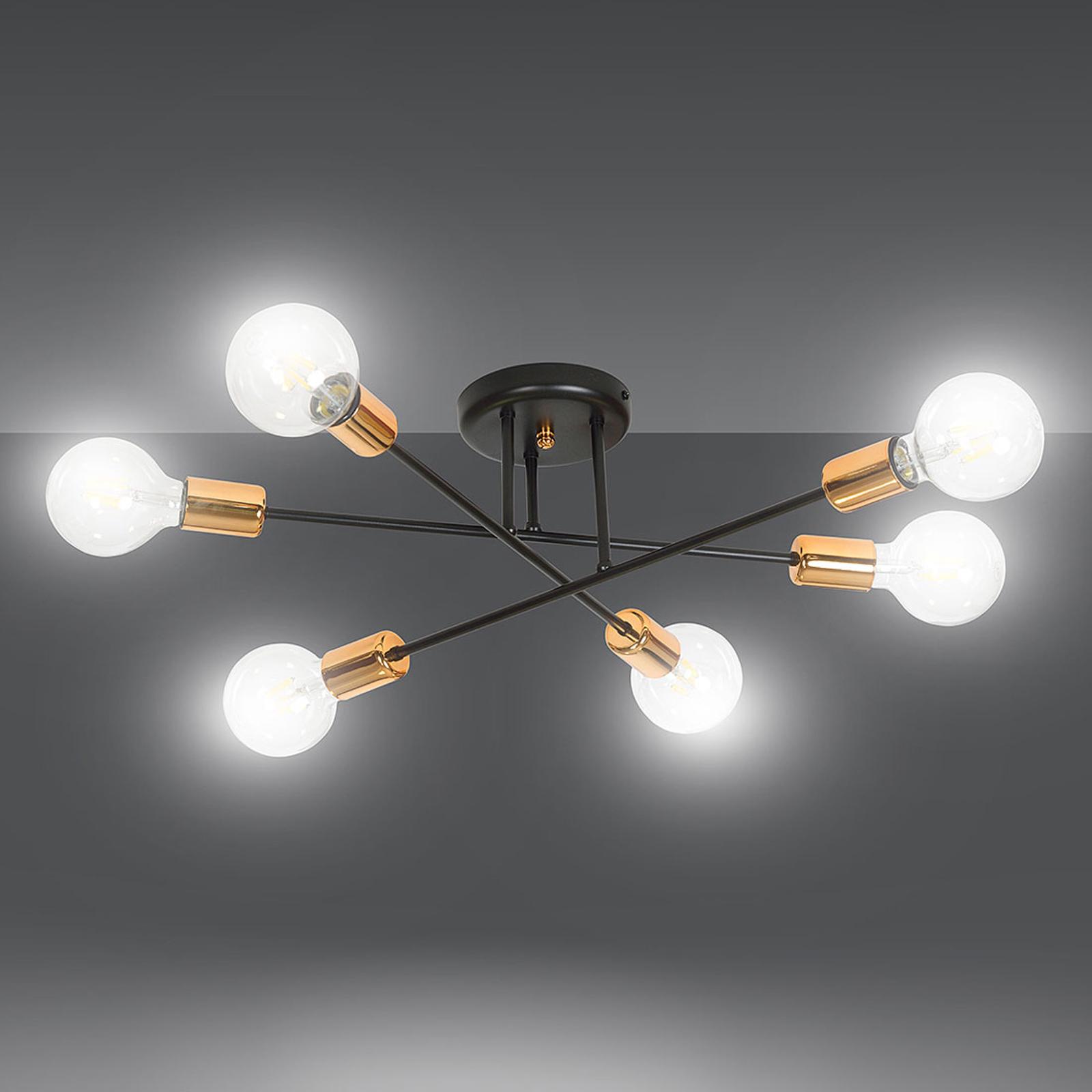 Deckenlampe Veken 6B in Schwarz und Kupfer