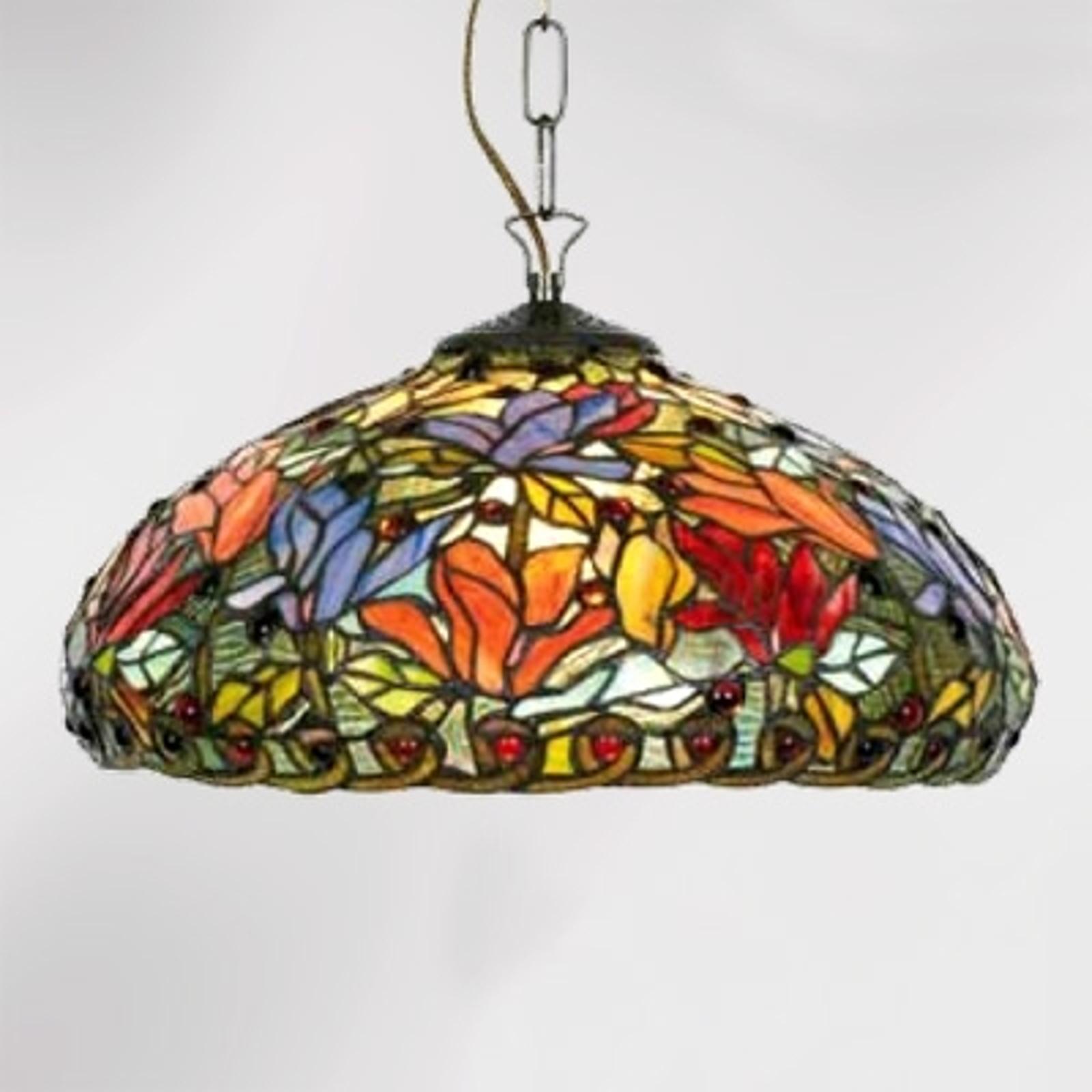 Elaine Tiffany-pendellampe med blomster og ett lys