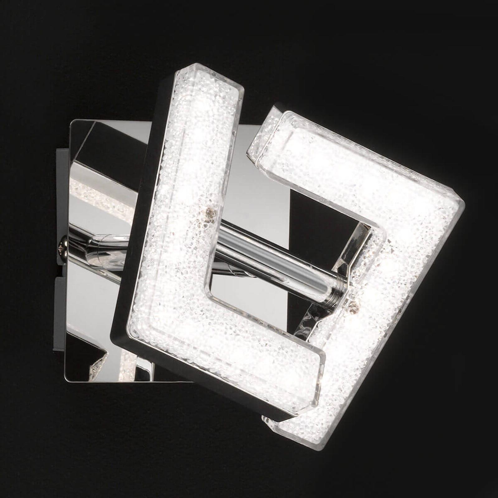 Kromblänkande LED-vägglampa Lea, justerbar