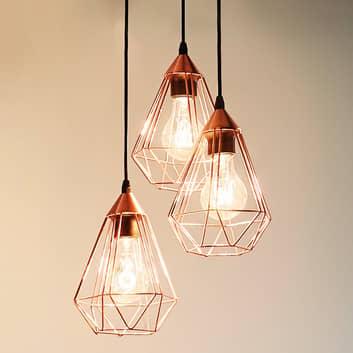 Kuparinvärinen Tarbes-riippuvalaisin - 3-lampp.