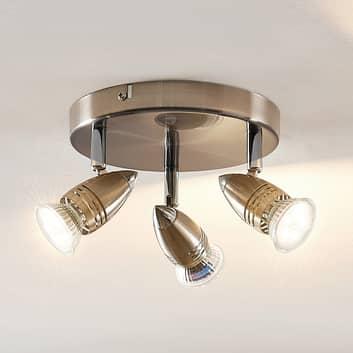 ELC Kalean LED plafondspot, nikkel, 3-lamps