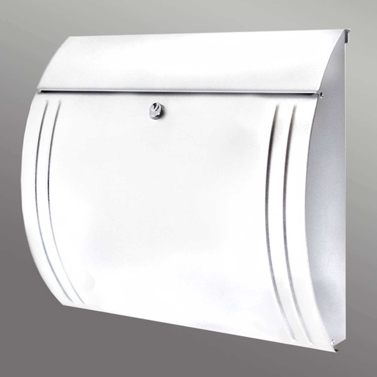 Modena steel letter box, beautiful shape, white