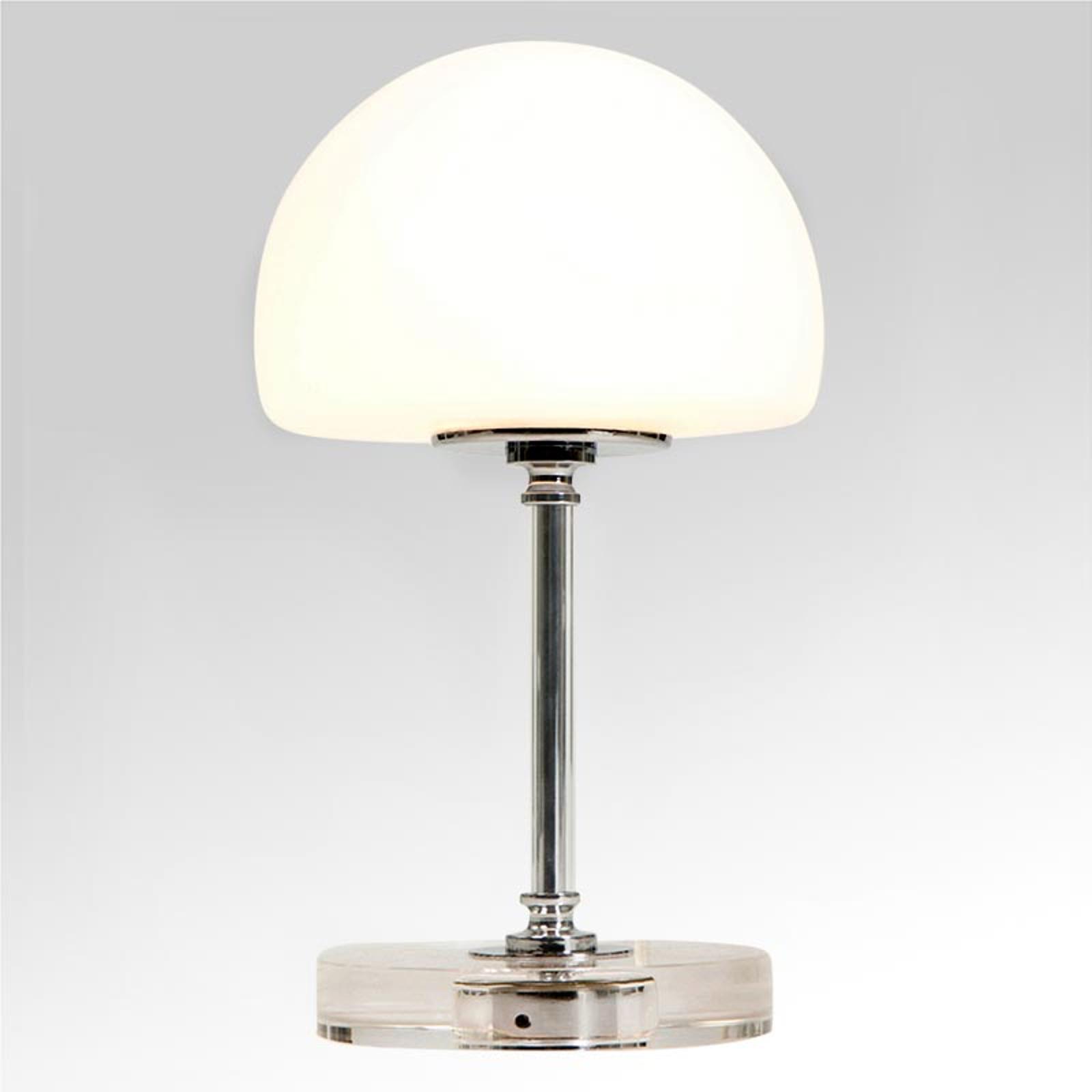Ancilla – chromowana lampa stołowa LED, ściemniacz