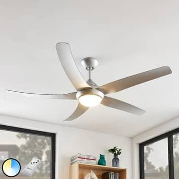 Arcchio Dora LED -kattotuuletin, 5 siipeä, hopea