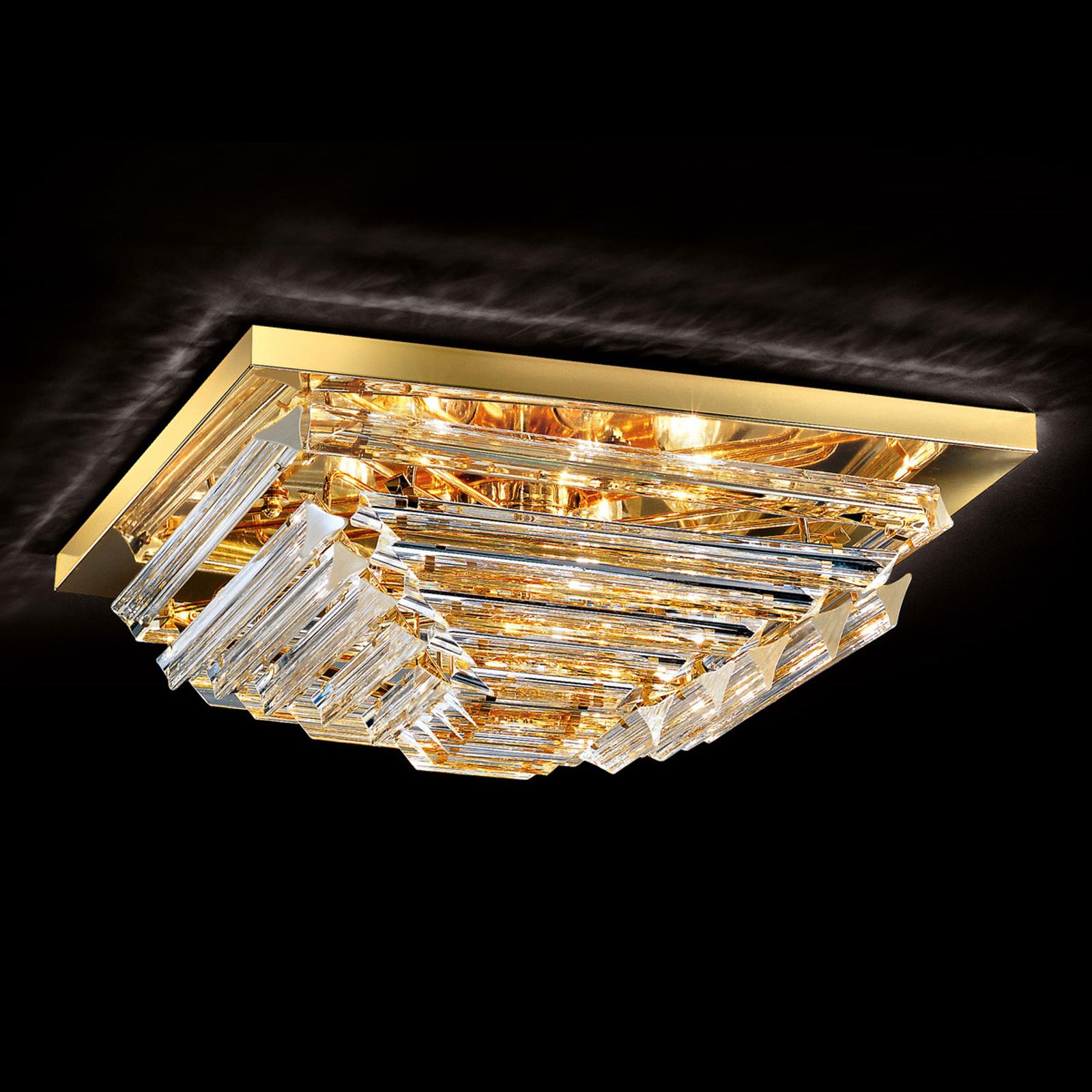 Złocona kryształowa lampa sufitowa Losanghe, 55 cm