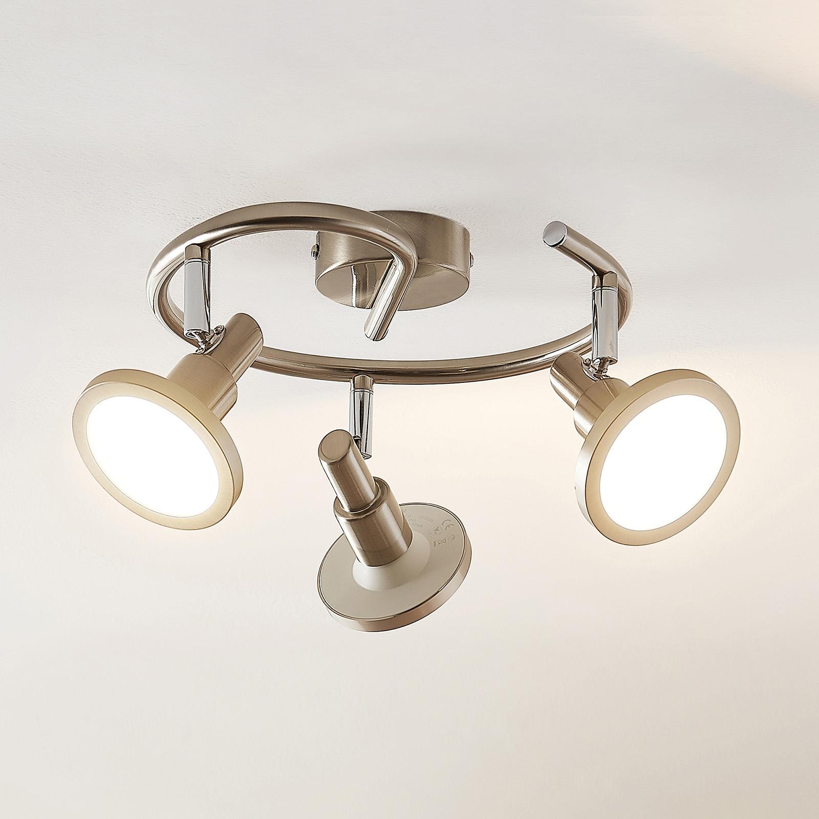 Lindby Unnur LED-spotlight, rondell, 3 lyskilder