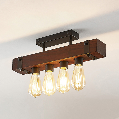 Lindby Michaela plafón, barras de madera, 4 luces