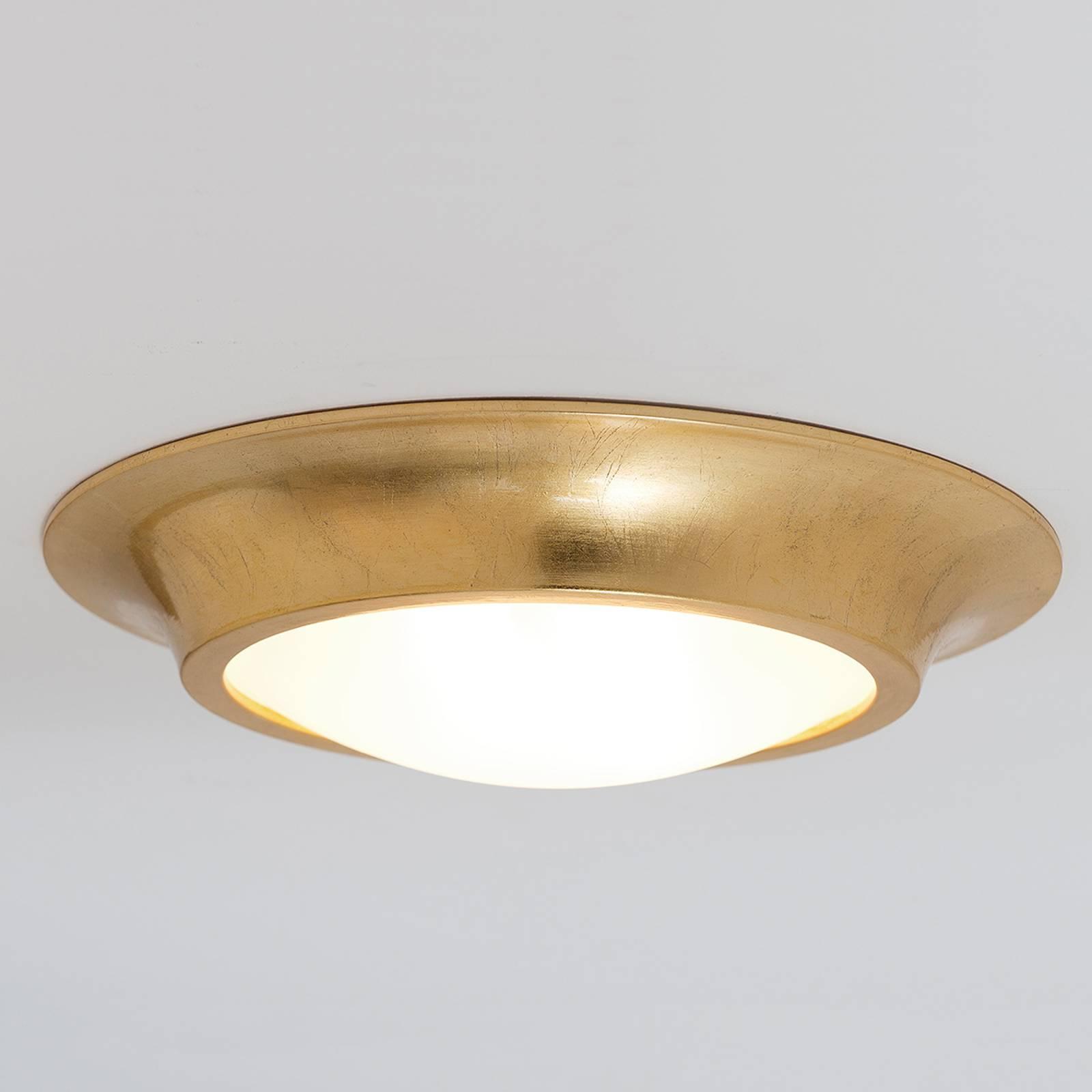 Złota, ceramiczna lampa sufitowa Spettacolo