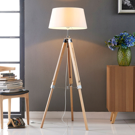 Lampa stojąca Katie z drewnianym trójnogiem