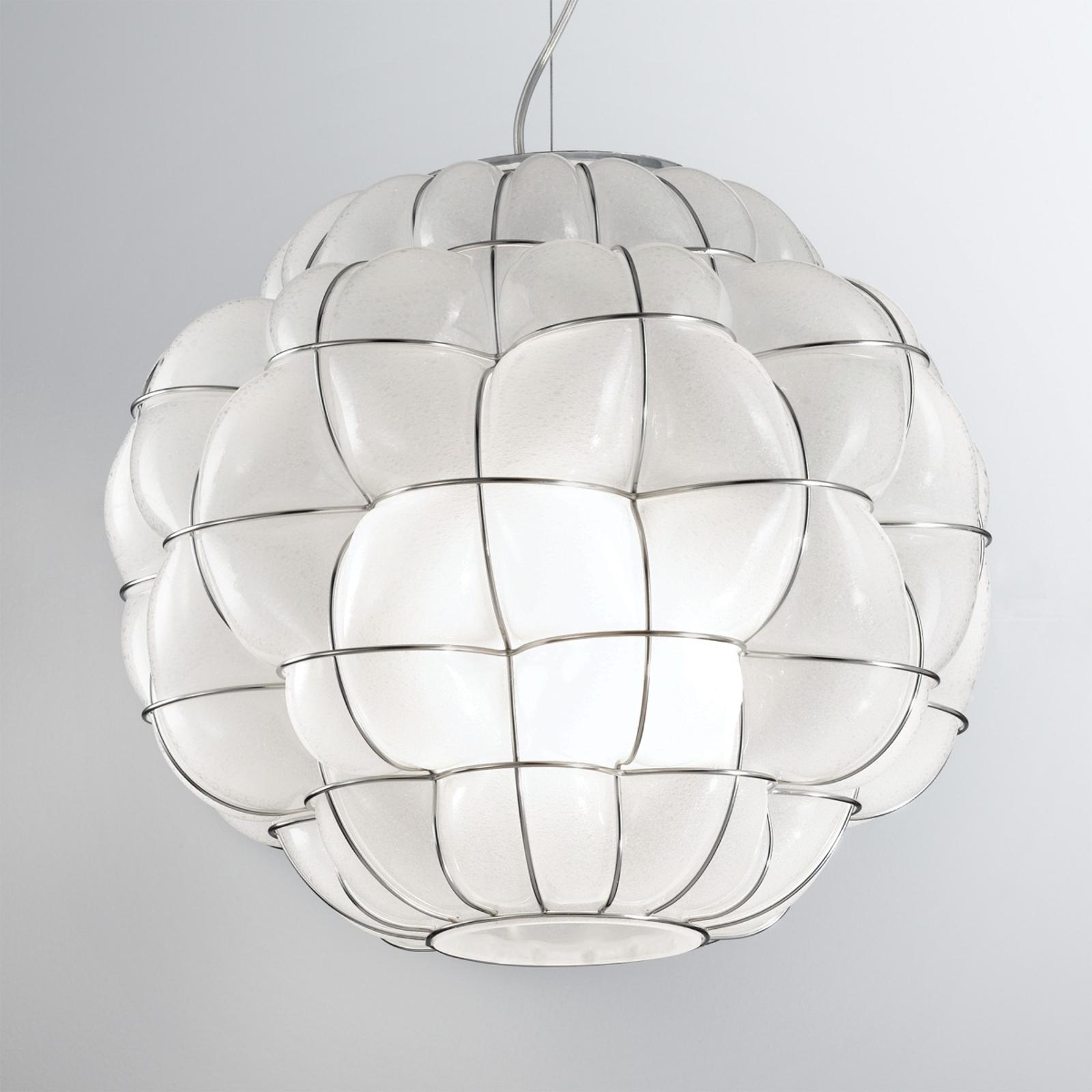 Lampa wisząca Pouff ze stali szlachetnej biała