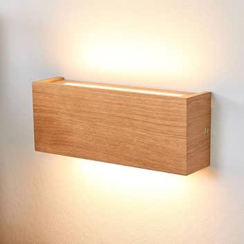 Lucande Mila LED-Wandlampe aus Eichenholz, 25 cm