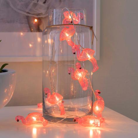 LED-Lichterkette Flamingos, batteriebetrieben